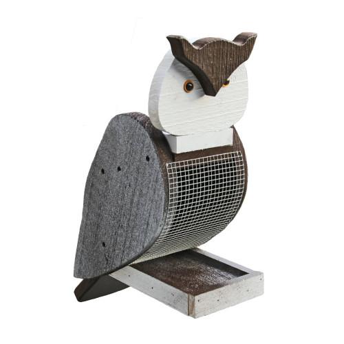Amish handcrafted wooden bird feeder - owl