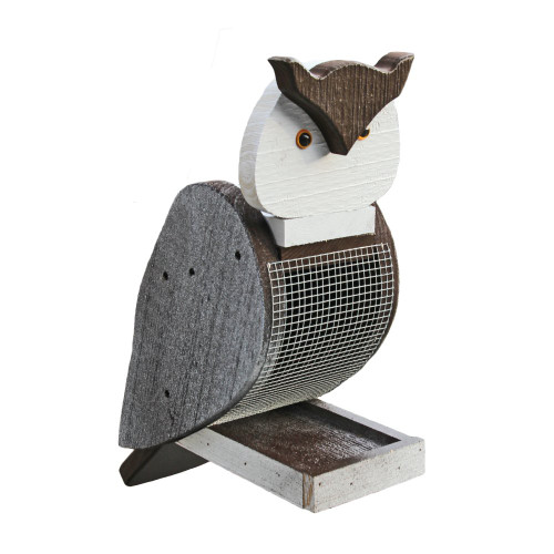 Amish handcrafted wooden bird feeder - owl
