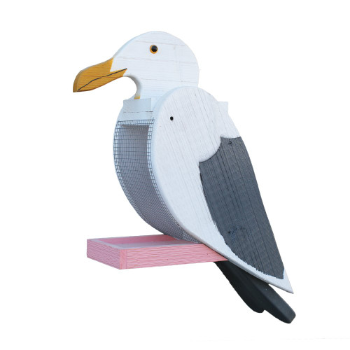 Amish handcrafted wooden bird feeder - seagull