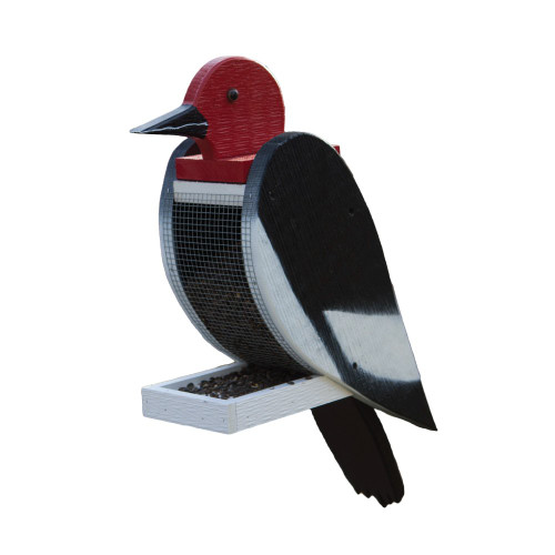 Amish handcrafted wooden bird feeder - woodpecker