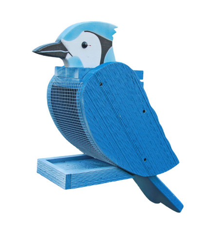Amish handcrafted wooden bird feeder - Blue Jay
