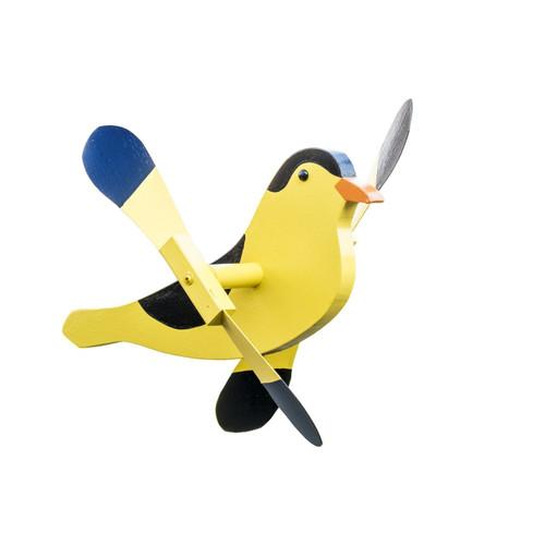 Whirligig garden stake - goldfinch