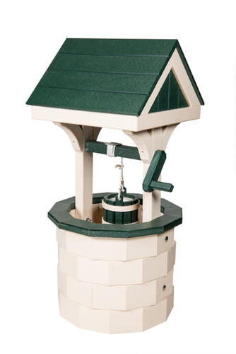 Amish handcrafted poly wishing well lawn ornament in Ivory & Green