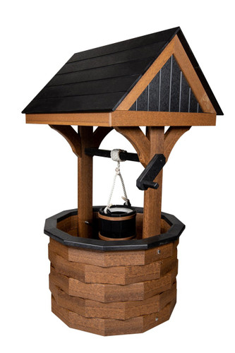 Amish handcrafted poly wishing well in mahogany & black