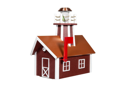 Amish made lighthouse mailbox with copper roof - cherrywood & white