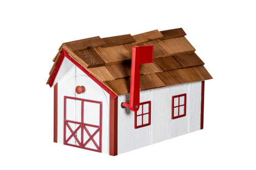 Amish made wooden mailbox with cedar shake roof - white with red