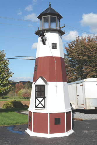 Amish Made 17 Foot Poly Lighthouse -  Shown As: Montauk Style, X-Large Electric Revolving Light, Roof/Top Color: Black, Tower Primary Color: White, Tower Accent/Trim Color: Cherrywood. Base Primary Color: Cherrywood, Optional Base Trim Color: White.