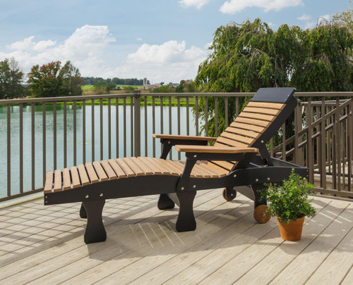 Amish handcrafted poly chaise lounge in cedar & black