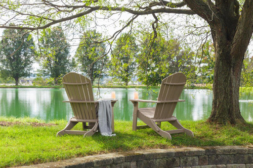 Amish handcrafted poly folding Adirondack chair in weatherwood