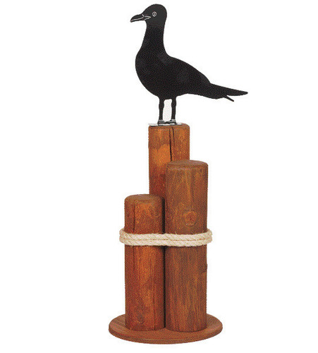Amish handcrafted nautical pier post lawn ornament with seagull