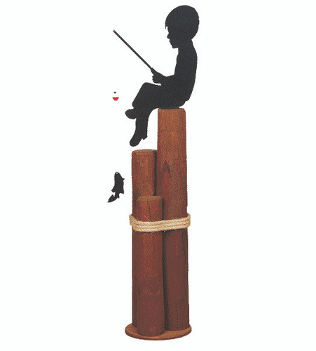 Amish handcrafted nautical pier post lawn ornament with boy fishing