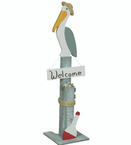 Amish handcrafted nautical welcome post lawn ornament with pelican