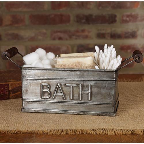 Aged tin box with handles bath holder