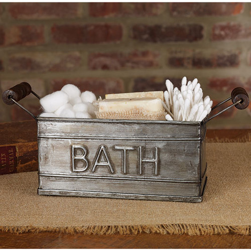 Aged tin box with handles bath holder