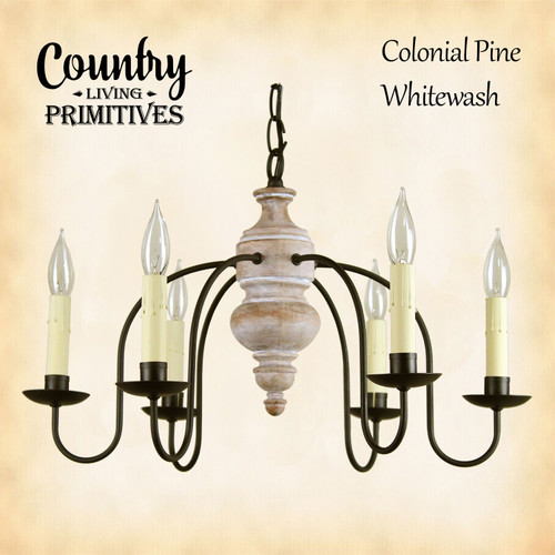 Carriage House primitive wood chandelier finished in Colonial Pine with Whitewash