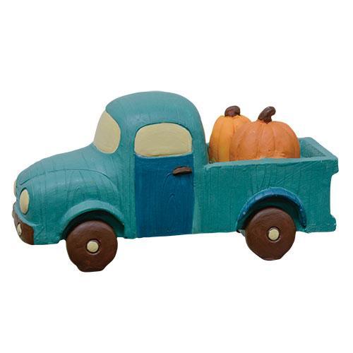 Blue Resin Truck with Pumpkins