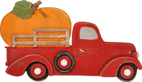 Orange Pumpkin Red Truck Wall Decor