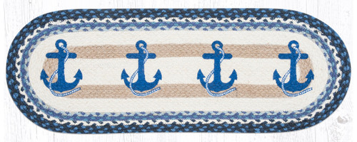Earth Rugs™ Braided Jute Oval Table Runner: Navy Anchor