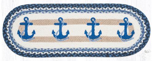 Earth Rugs™ Braided Jute Oval Table Runner: Navy Anchor