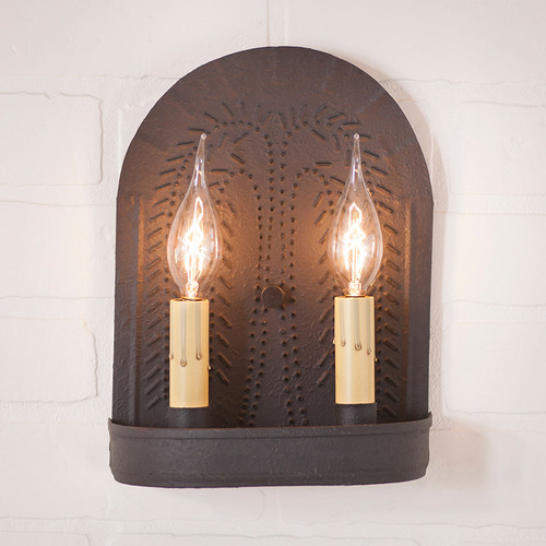 Double Sconce With Willow Pattern in Textured Black
