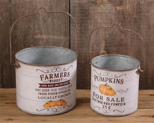 Farmers Market and Pumpkins For Sale Buckets