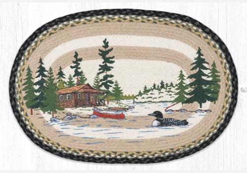 Loon On Lake Oval Rug