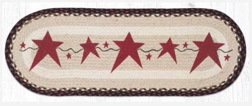 Primitive Burgundy Stars Jute Table Runner