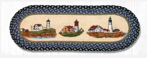 Three Lighthouses Jute Table Runner