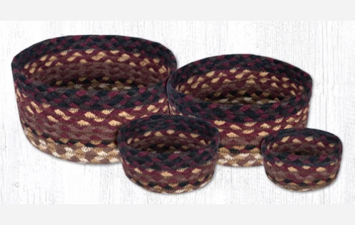 Earth Rugs™ Table Basket Set: Black Cherry-Chocolate-Cream