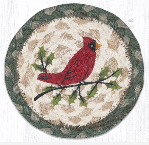 Holly Cardinal Round Coaster