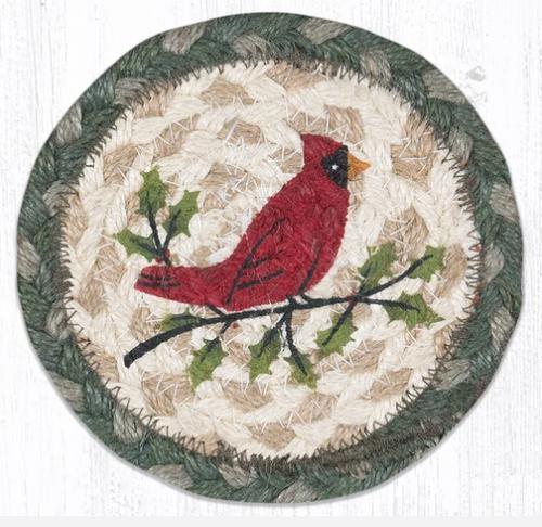 Holly Cardinal Round Coaster