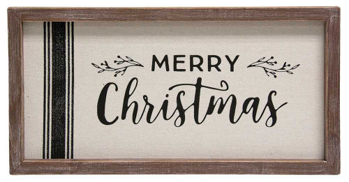 Merry Christmas Grain Sack Framed Sign