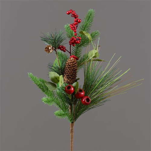 Mixed Evergreens Berries and Cones Pick