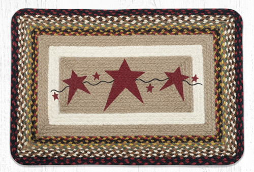 Primitive Burgundy Stars Oblong Braided Rug