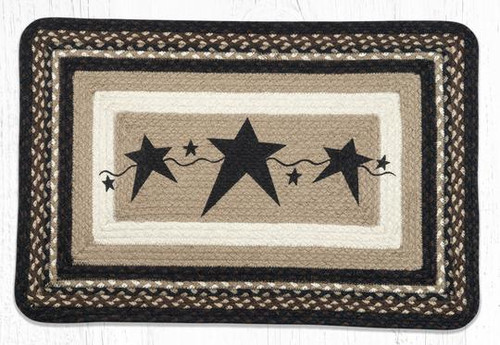Primitive Stars Black Oblong Braided Rug
