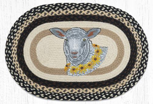 Flower Lamb Braided Rug
