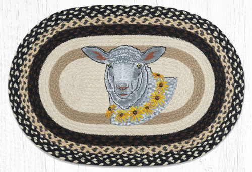 Flower Lamb Braided Rug