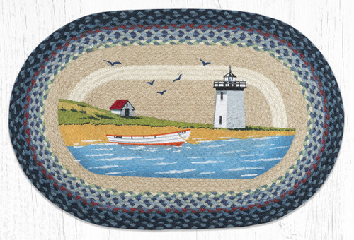 Light and Boat Braided Rug