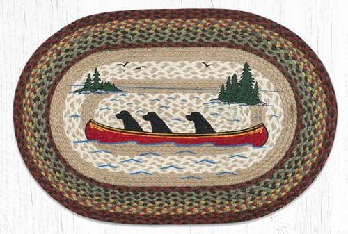 Labs In Canoe Braided Rug