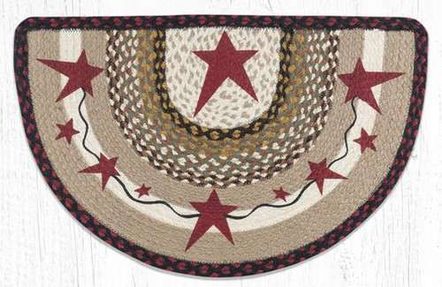 Primitive Burgundy Stars Slice Braided Rug