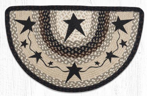 Primitive Black Star Braided-Slice Rug