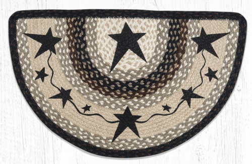 Primitive Black Star Braided-Slice Rug