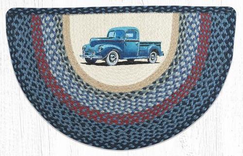 Blue Truck Braided Slice Rug