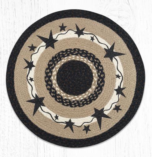 Primitive Black Stars Round Braided Rug