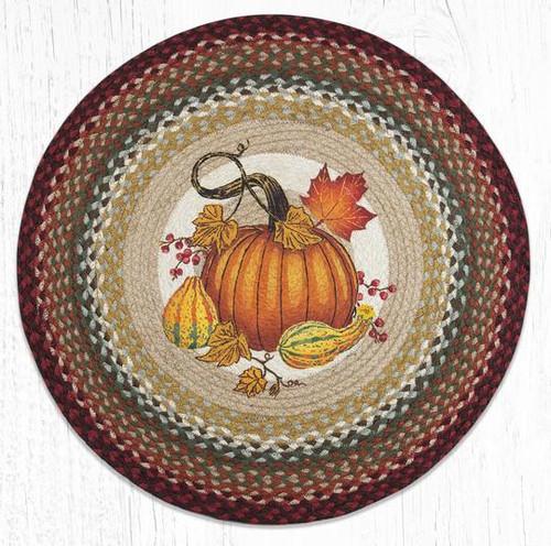Autumn Pumpkin Braided Round Rug