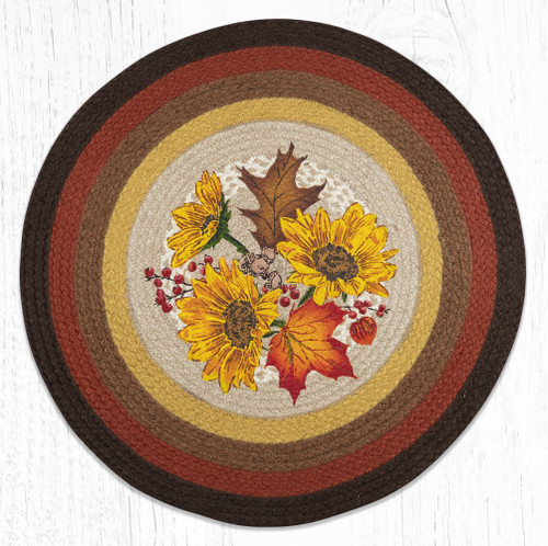 Autumn Sunflowers Round Braided Rug