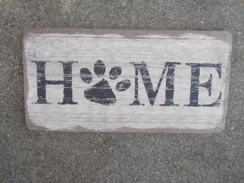 Primitive Wooden Sign Home Paw