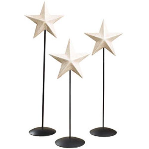 Aged White Barn Star Pedestal