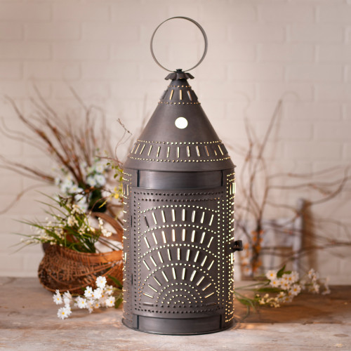 Irvin's Tinware Punched Tin Blacksmith's Lantern Finished In Kettle Black