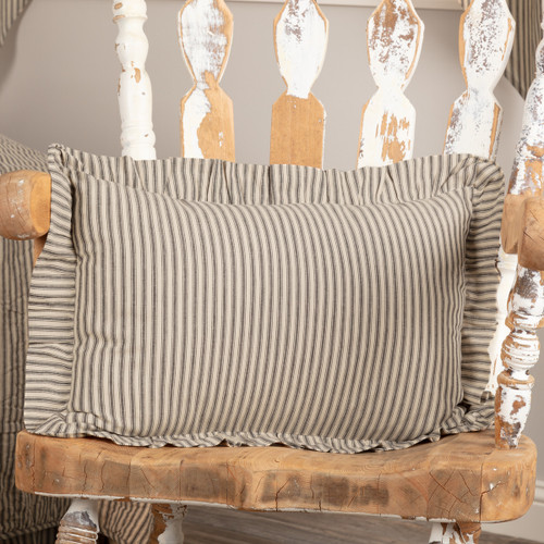 Sawyer Mill Charcoal Ticking Stripe Pillow
